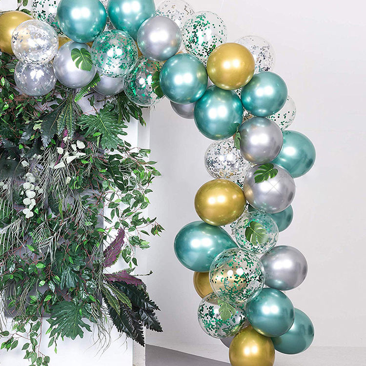 Jungle summer theme birthday party supplies 50 balloon garlands mint green gold silver metal balloon arch kit