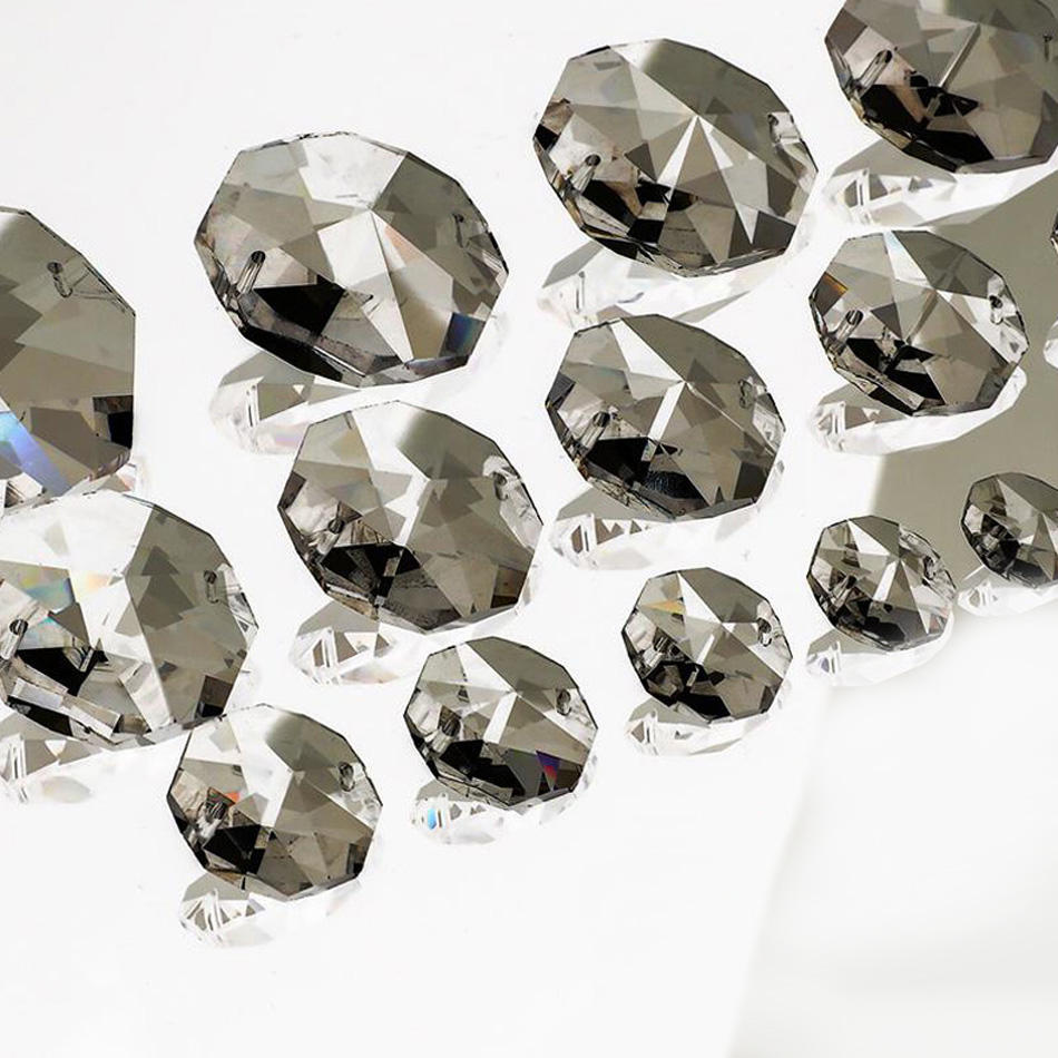 Glass Crystal Prisms Clear Octagonal Beads Glass Pendant Chandeliers for Lamp Light Decorations MLSJ-SZ009