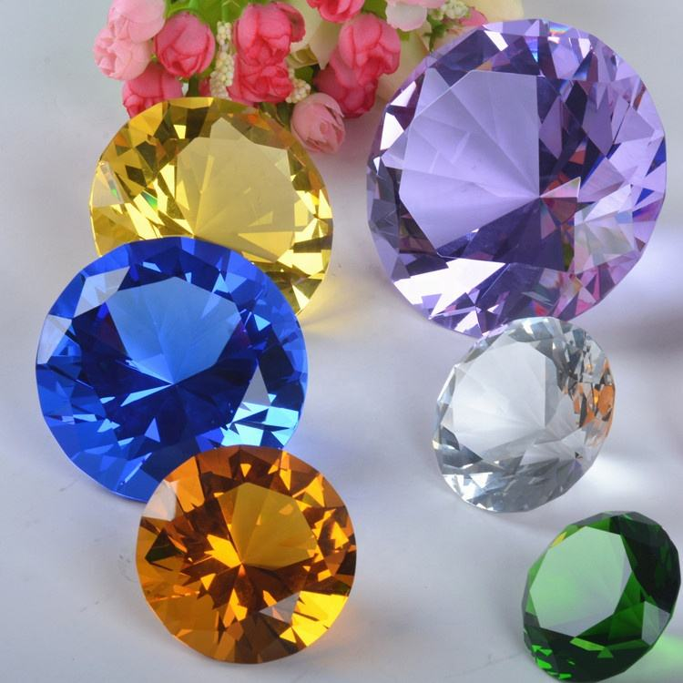 Wholesale Cheap Glass Diamonds Paperweights Clear 60mm 80mm K9 Crystal Diamonds for Home Decoration