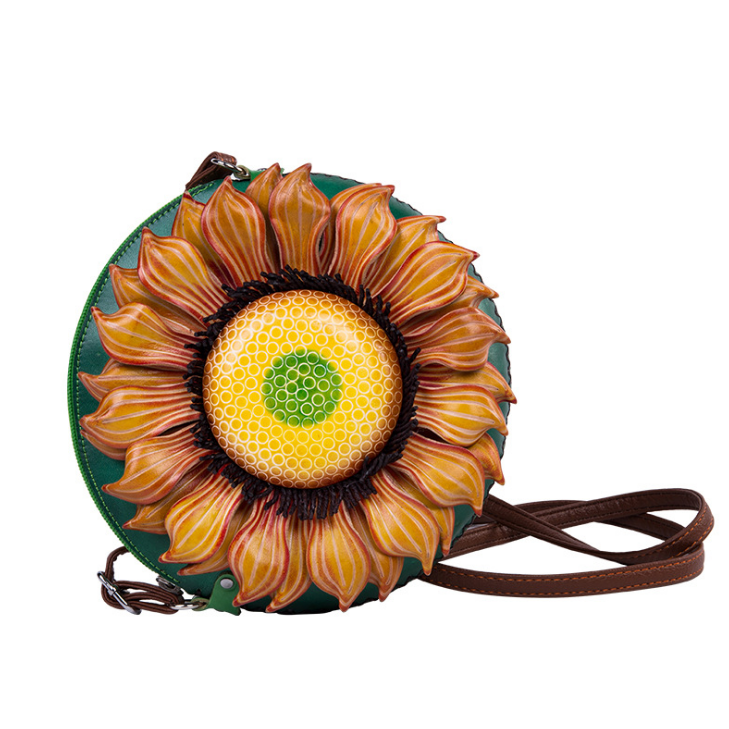 Cow Leather handmade leather sunflower Shoulder Bag Stylish Ladies Messenger Bags Purse and Handbags
