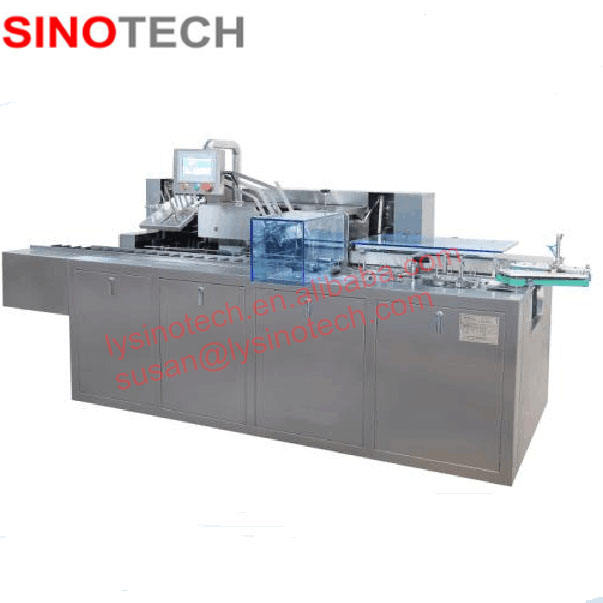 GMP Automatic vial cartoning machine for injection vials, vial case boxing machine in packing line