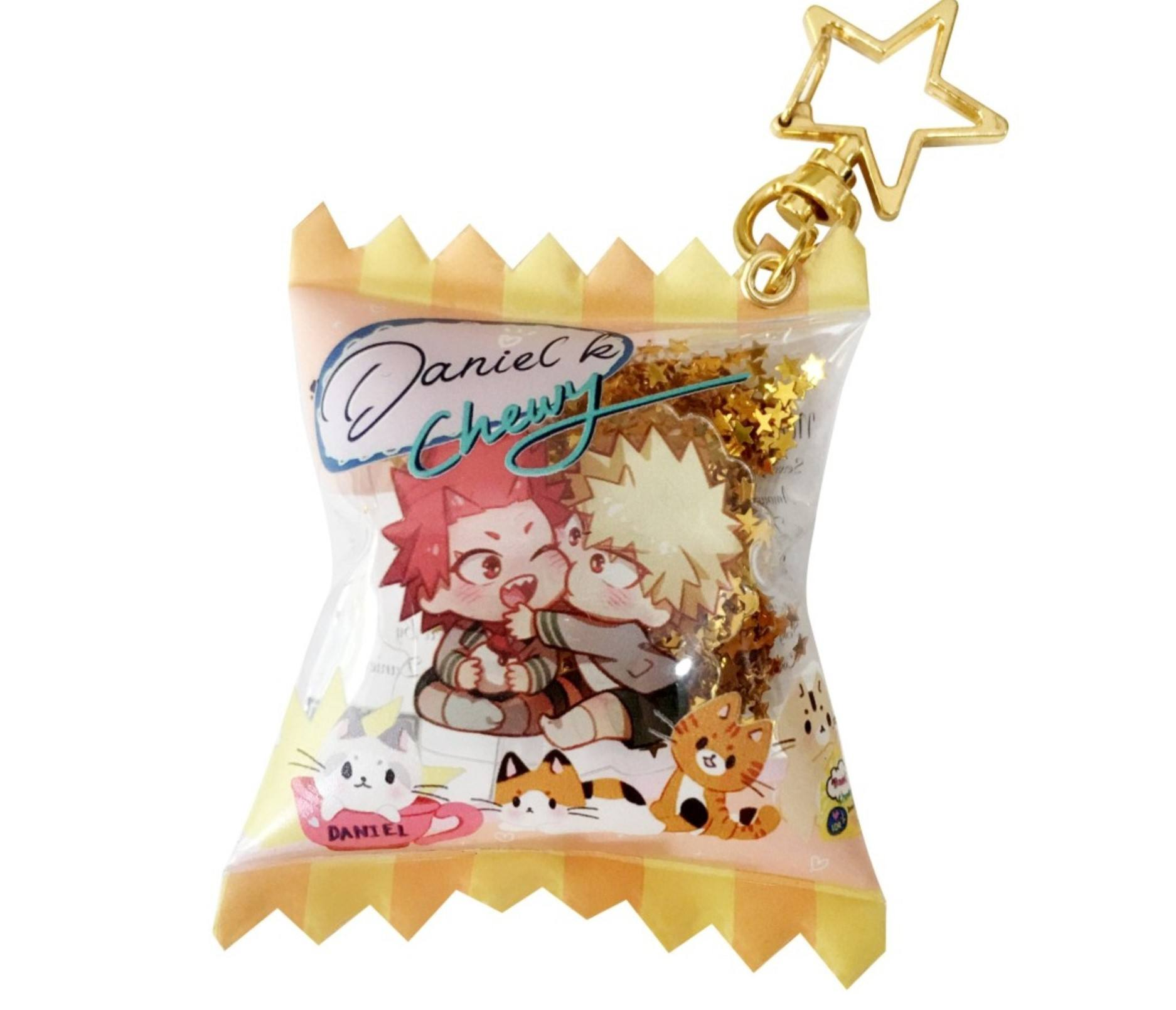 custom anime plastic acrylic transparent colorful glitter candy bag charm keychain keyring