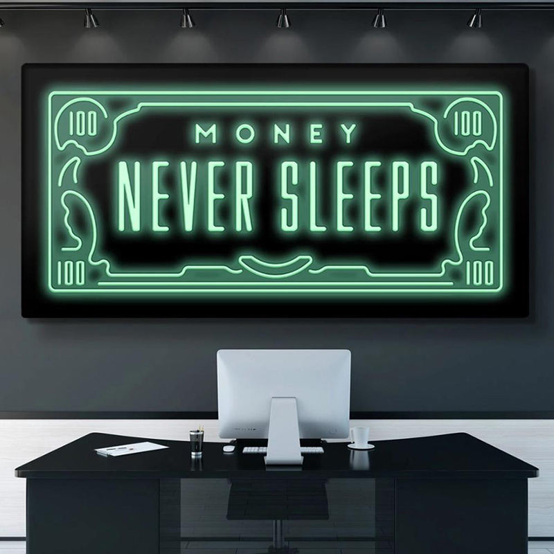 Motivition Quotes Never Sleep Canvas Painting Nordic Money Posters and Prints Inspirational Decorative Wall Picture Office