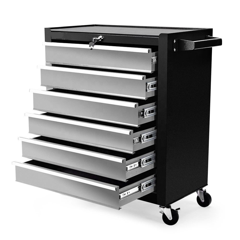6 Drawer Tool Box Cabinet Trolley Garage Toolbox Mechanic Storage Chest