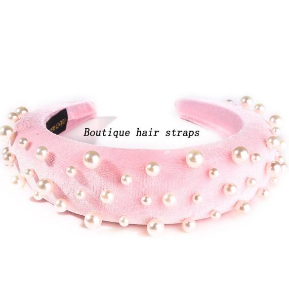 Wholesale custom fashion sponge padded pearl headband hairband velvet hair accessories for women