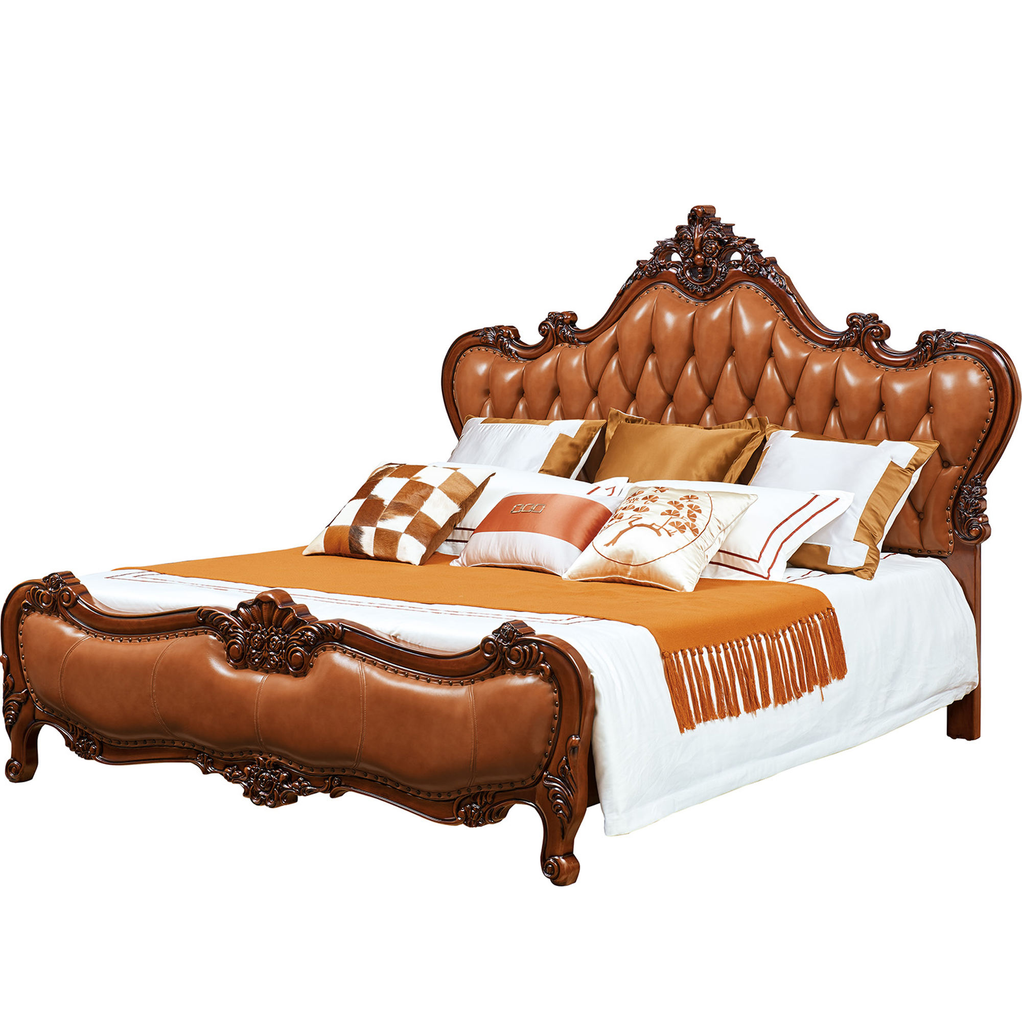 أحدث المعزي <span class=keywords><strong>الروكوكو</strong></span> الفرنسية مصمم الملكة الزفاف خشبية مزدوجة طقم سرير من الجلد البلوط الأثاث