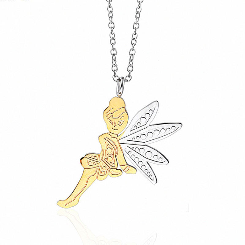 Stainless Steel Gold Two Tones Angel Necklace for Girls Female Pendant