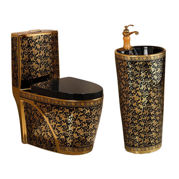 Luxury bathroom gold Ceramic black toilet wc set sanitary ware colored with pedestal basin