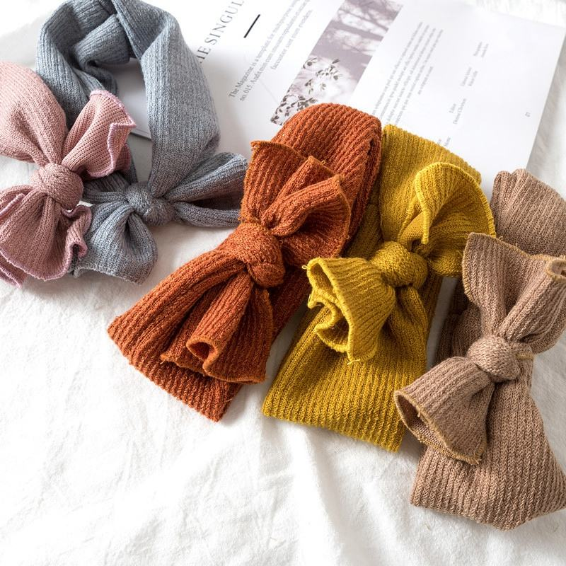 Baby Kids Girl Knitted headband Toddler Solid color soft Hair bands Elastic Hairbows Autumn Winter 11Colors