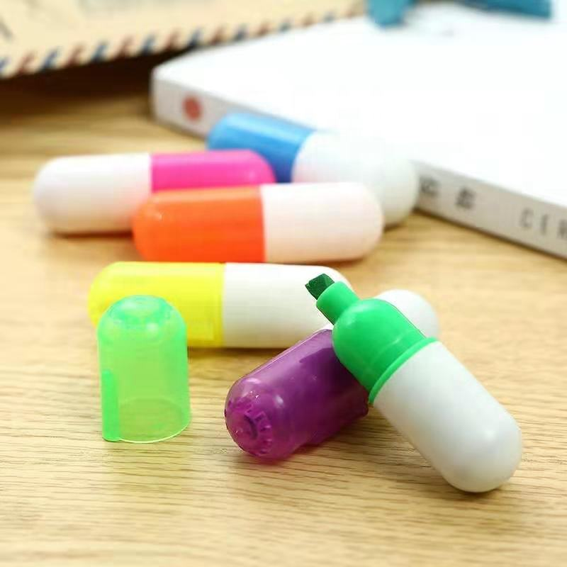 multi colored Capsule Drawing mini highlighter pen promotional