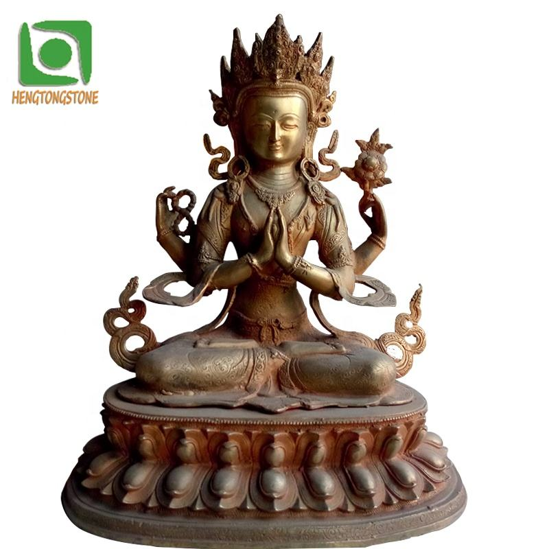 Religious Decorative Small Size Bronze Four-armed Guanyin Statue
