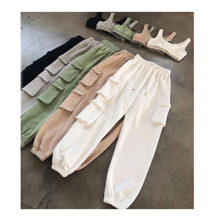 Custom Plain 2 piece Crop top and Joggers Sweat Pants With Pockets Suits Set For Women