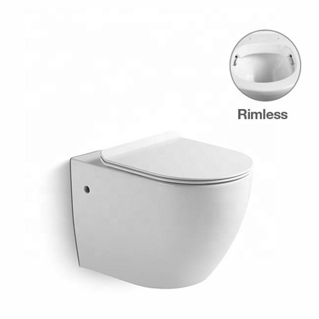 B8831 European Style Glossy Color Rimless Wall Mounted Toilet Bowl