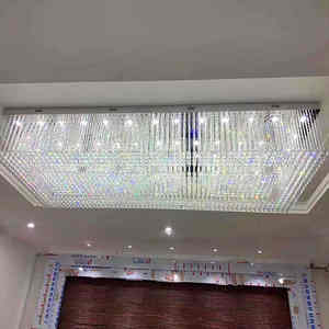 Modern European Large and luxury rectangle led k9 crystal Chandelier for hotel lighting