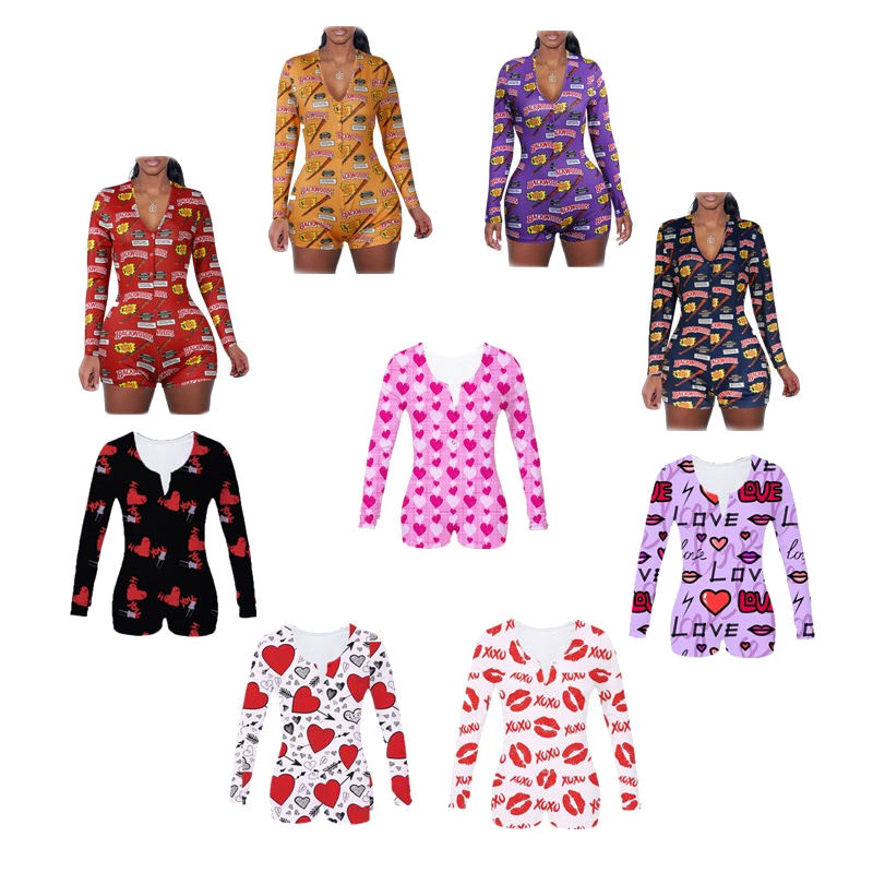Wholesale Custom New Printing Plus Size Mommy And Me Pajamas Adult Sexy Jumpsuit Women Pajamas