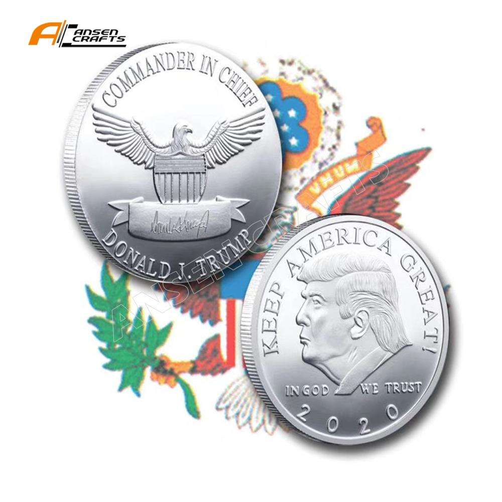 2020 Herdenkingsmunt Amerikaanse 45th President Donald Craft Souvenir Goud Zilver Metalen Badge Collection Non-Currenc Trump Coin