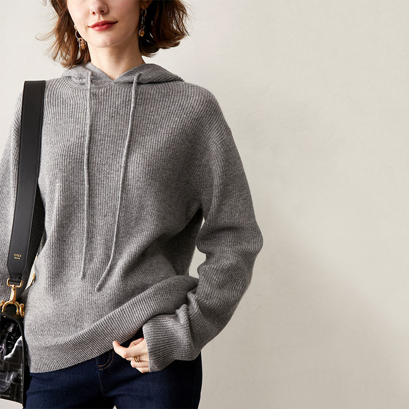2020 100% Cashmere Knitted Oversized Hoodie Sweaters Spring Women