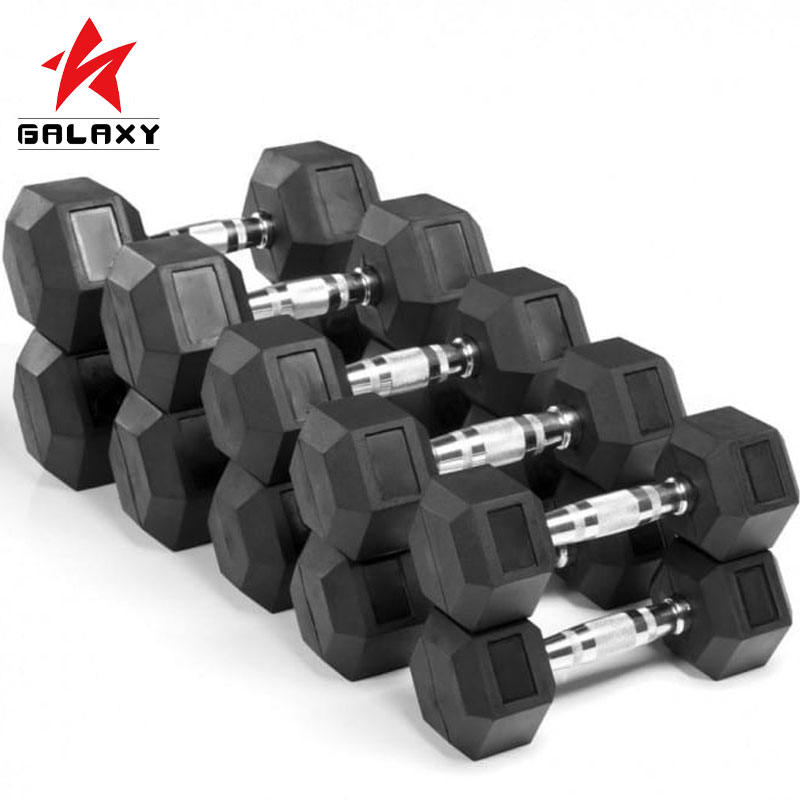 Spor salonu bölümü <span class=keywords><strong>kauçuk</strong></span> kapak halter Hex Dumbbell For Sale