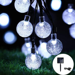 Solar String Lights Outdoor,30LED Garden Lights with USB Charging,8 Mode 6.5M/21Ft Waterproof Crystal Balls Fairy String Lights