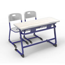 Cheap High quality double seat middle School Furniture school desk and chair