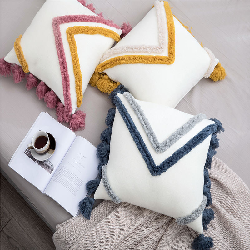 Decorative Throw Pillow Cover Woven With Tassels Pillowcase Cushion Cover