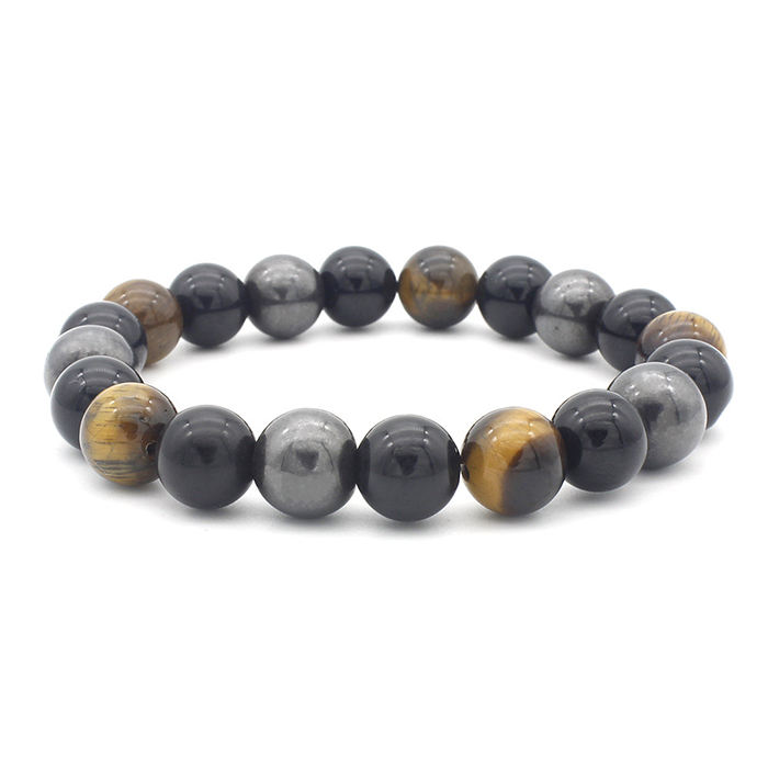 Men Crystal hematite black Gemstone tiger eye Natural stone Charm Bangle Lucky Wrap Handmade Beaded Bracelet Stretch Set jewelry