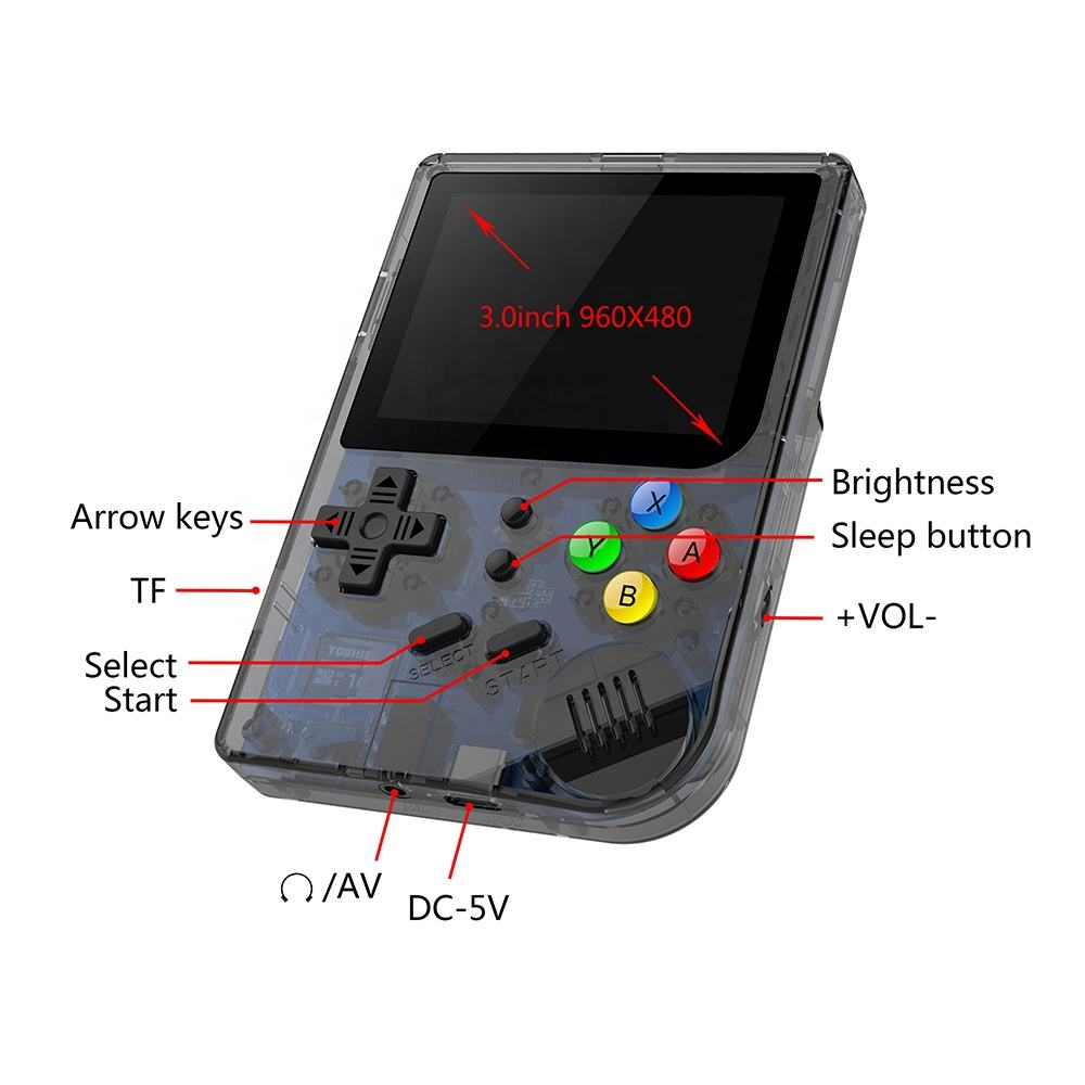 Factory Hot Sale 3.0 Inch 64 Bit Video Game Built-in 3000 Games Handheld Game Console RG300