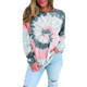Shirt Women Wholesale Cheap Cotton Casual Pullover Block Tops Gradient Long Sleeve Tie Dye T Shirt Women