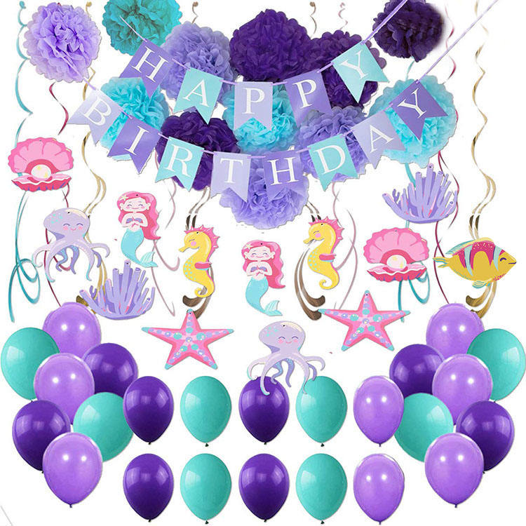 Nicro Under The Sea Mermaid Theme Party Favor Supplies Happy Birthday Banner Pompom Swirls Balloon Kit