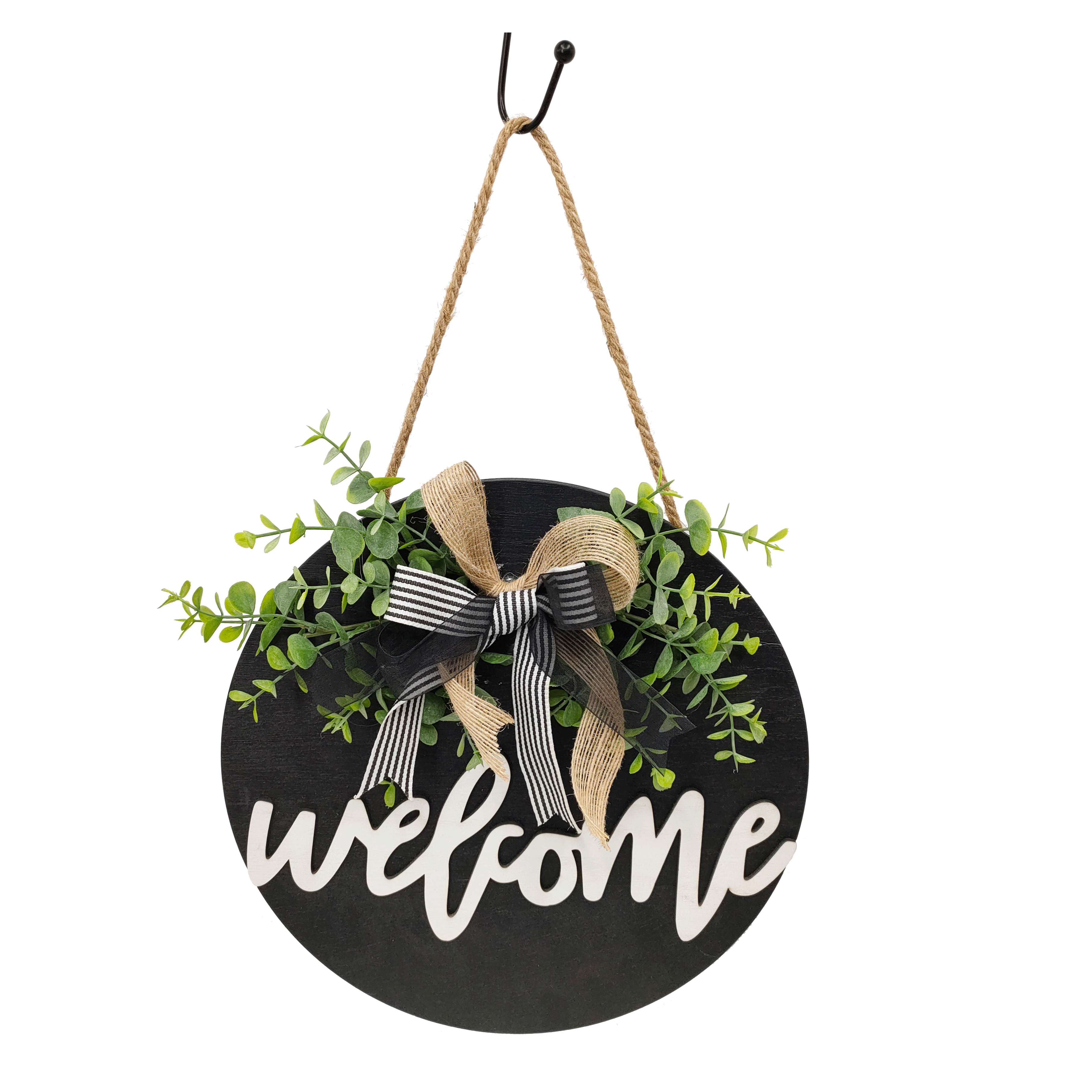 Welcome Sign Welcome Front Door Round Wood Sign Hanging Welcome Sign for Farmhouse porch decoration