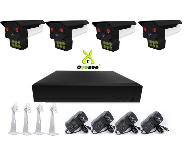 4ch face recognition NVR kits cctv system 4 pcs 3MP outdoor camera with white LED 1 pc 8ch 5MP NVR