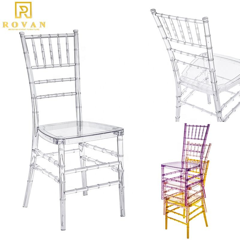 Rovan Furniture mesh cross back chair transparent chair and event acrylic crystal stacking clear resin chiavari chair