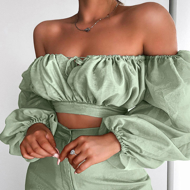 R10300S Women's new off the shoulder wrap chest mesh sleeves top