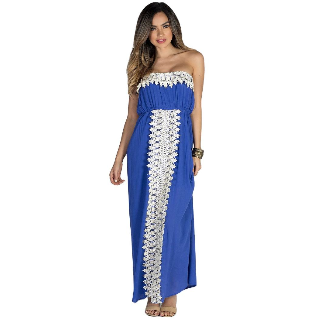 Daydreamer Blue Strapless Maxi Dress with Crochet Lace Trim