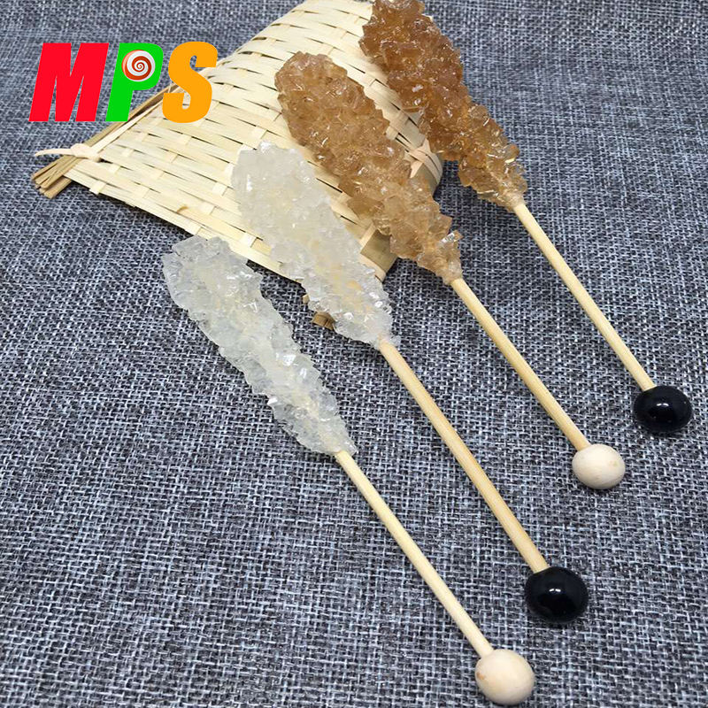 10g 12g oem Handmade Colorful Rock Candy Hard Crystal Lollipop Sticks For Tea / Coffee