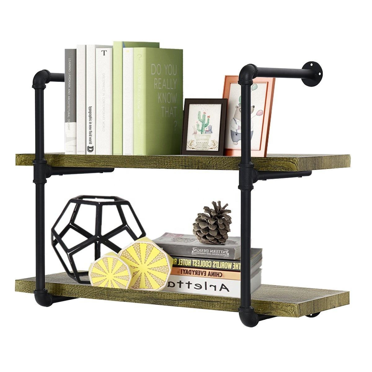 Pipe Shelves 2 Tier Industrial Shelf with Wood & Metal Hanging Wall Shelving for Living Room Coffee Shops Storage Pipe Shelves