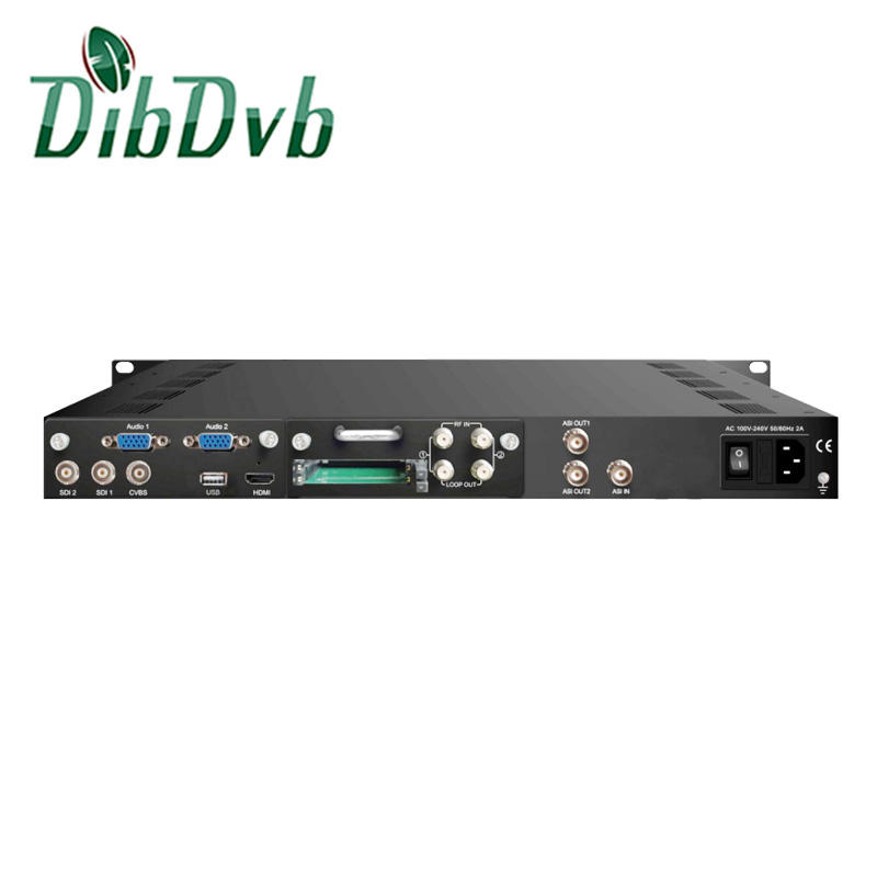 HEVC DVB-S2X integrated receiver decoder DVB-S/S2 to sdi demodulator AC3 encoder with dual stereo audio