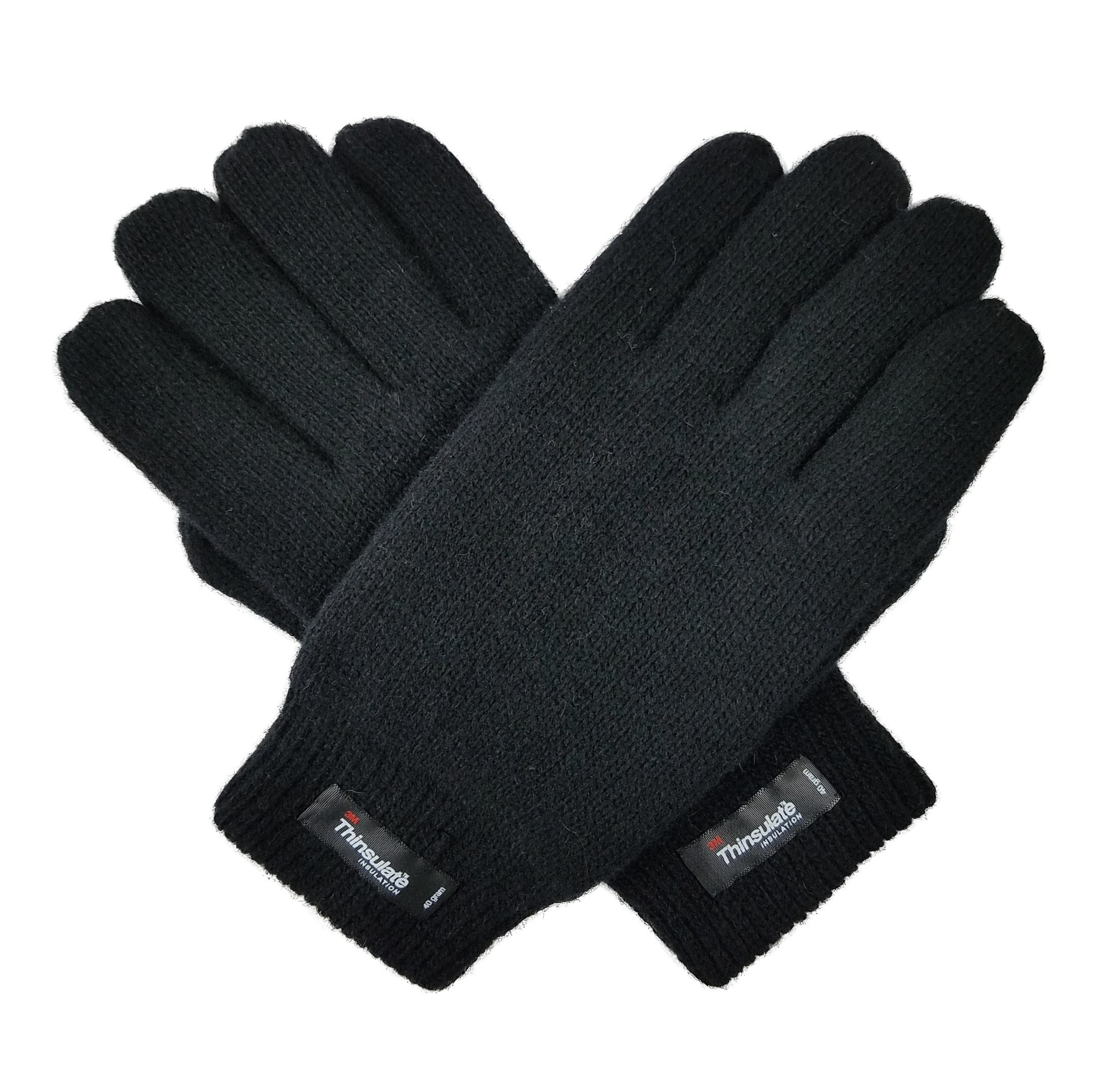 Men Winter Warm Wool Knitted Glove with Thinsulate Lining and Elastic Rib Cuff Working Cycling Cold Weather Gloves