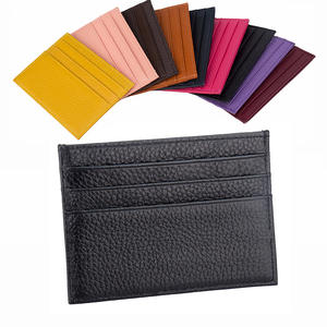 100% Genuine Leather Card Holder Candy Color Bank Credit Card Gift Box Multi Slot Slim ID Cardholder