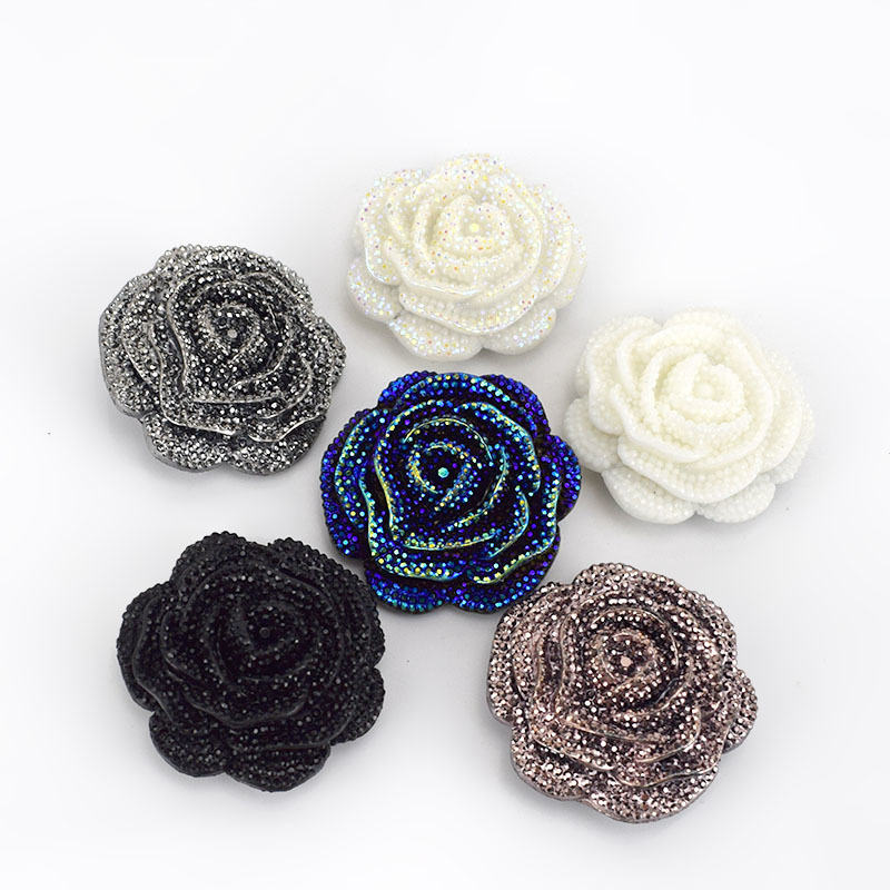 Deepeel CN043 47mm DIY Sewing Clothing Accessories Plastic Resin Rhinestone Buttons Flower Shaped Coat Decor Button