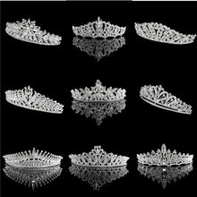 Factory Sell alloy and Rhinestone Handmade silver wedding pageant bride crowns and tiara