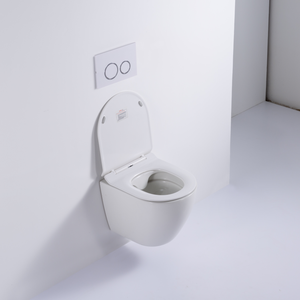 Chinese sanitary ware wc ceramic round rimless wall mounted toilet