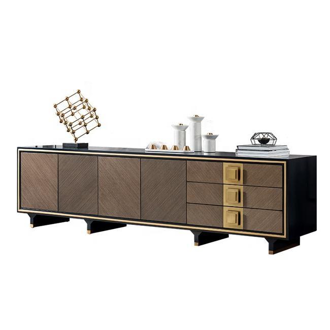 Diseño moderno negro brillante de tv de madera unidad de madera esquina soporte de tv