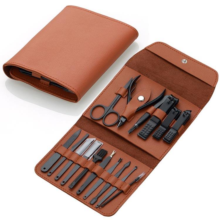 16 Pcs Black Gift Nagelknipper Manicure Set Voor Mannen Vrouwen Met Pu Leather Case