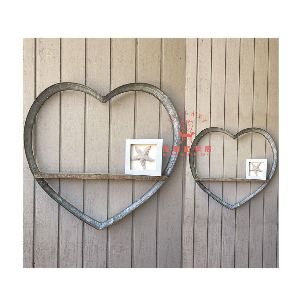 Hot Selling Set 2 Rustic Metal Home And Garden Heart Display Wall Mounted Shelf
