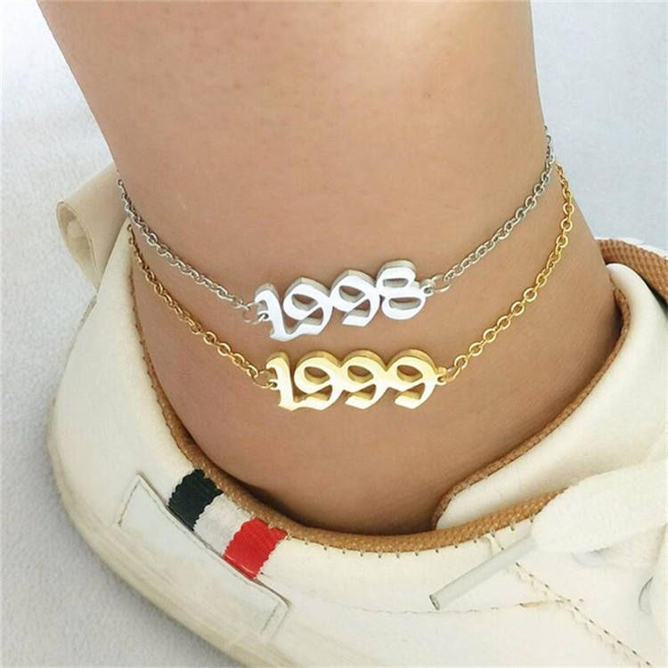 Women Charm Gold Plated 2021 Birth Year Stainless Steel Men Foot Jewelry Charm Anklet