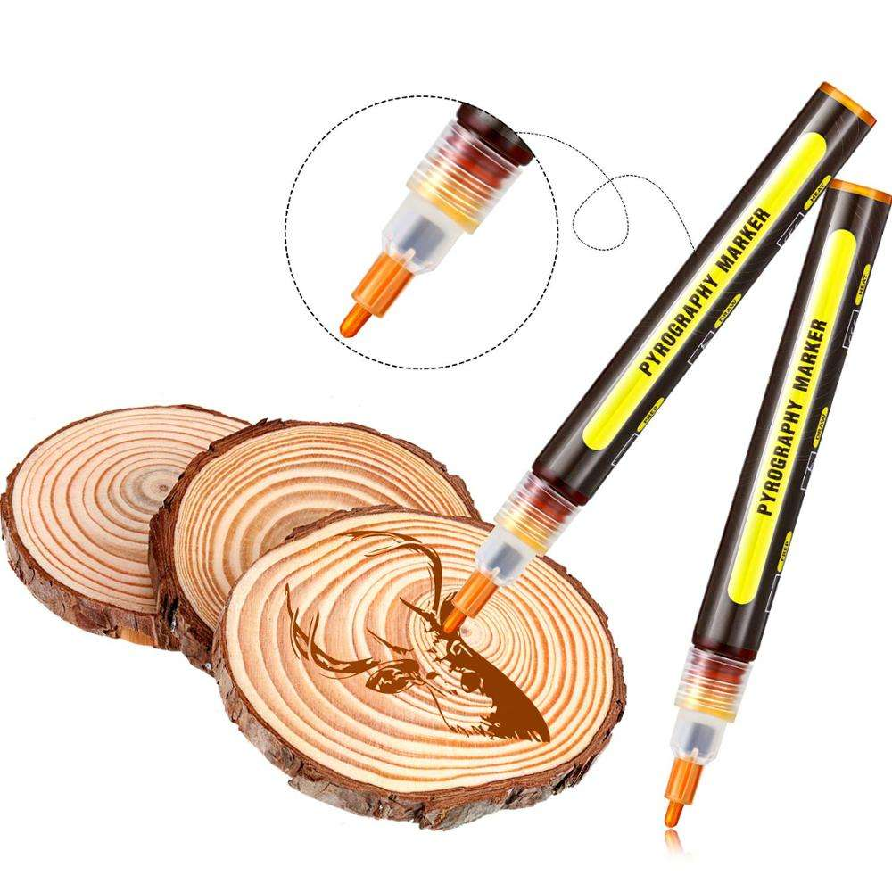 Scorch Pen Marker, Pyrography Marker Wood Burning Pen for DIY Wood Painting, Replace Wood Burning Iron Tool, Easy and Safe