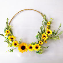 New Product ideas 2020 Artificial Sunflower Wreath Flower For Home Decor Front Door Indoor Or Outdoor Artificial Sunflower