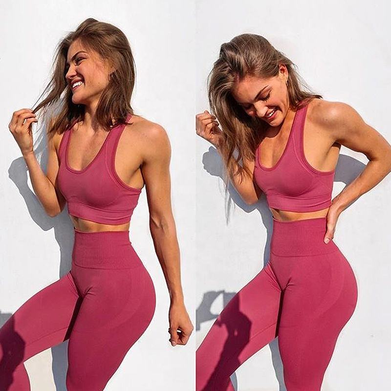 Ptsports private label custom fitness clothes girls sports wear women spandex two piece yoga set bra and leggings set