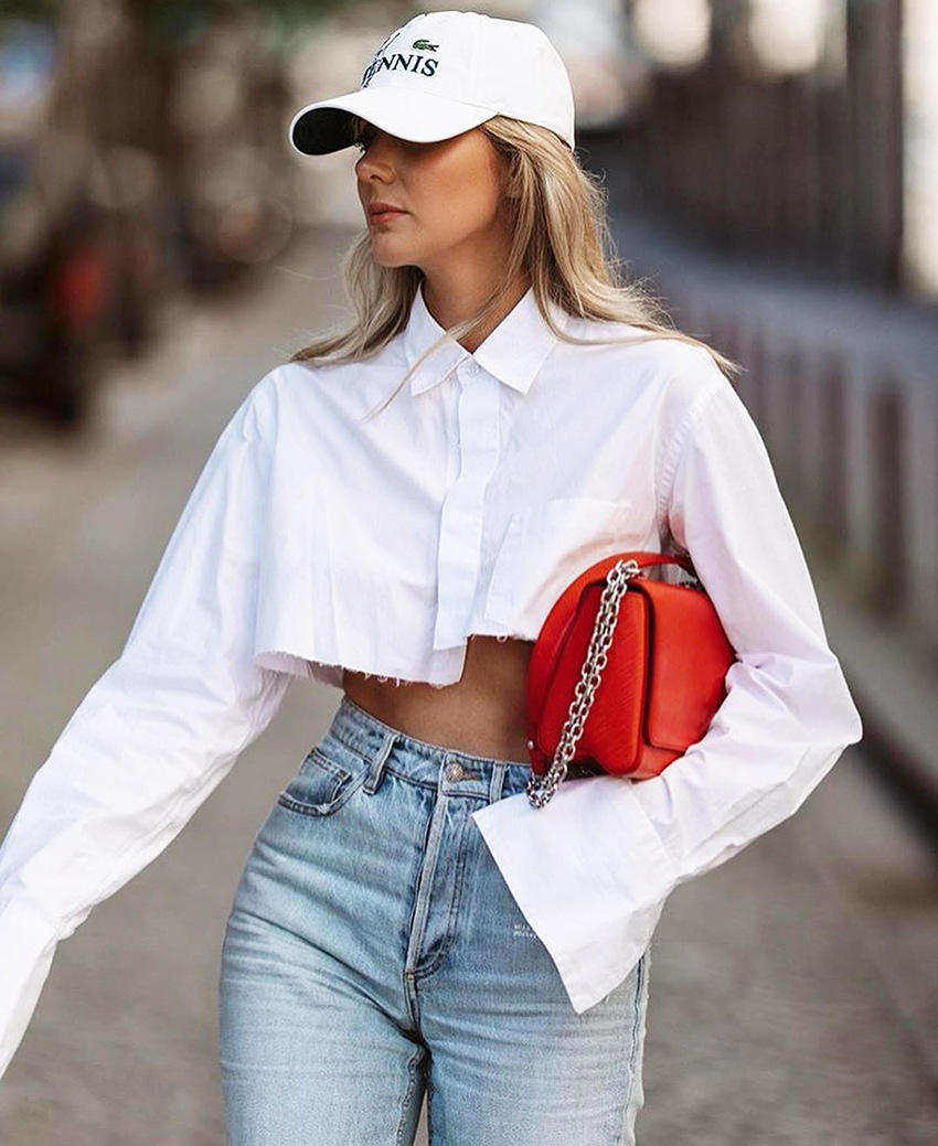 Blouse Women Casual 2021 Casual Shirts Women Blouse Summer Long Sleeve Button Down Cotton Crop Top Shirt Blouse